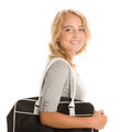 Young woman with bag on white background Stock Images