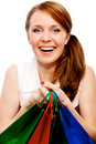 Young woman with the bags Royalty Free Stock Photography