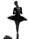 Young woman ballerina ballet dancer dancing one caucasian with tutu in silhouette studio on white background Royalty Free Stock Photos