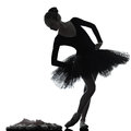 Young woman ballerina ballet dancer dancing one caucasian with tutu in silhouette studio on white background Stock Photos