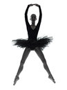 Young woman ballerina ballet dancer dancing one caucasian with tutu in silhouette studio on white background Stock Photography