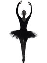 Young woman ballerina ballet dancer dancing silhouette one caucasian with tutu in studio on white background Royalty Free Stock Photography