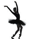 Young woman ballerina ballet dancer dancing silhouette one with tutu in studio on white background Stock Photo