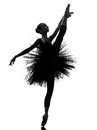 Young woman ballerina ballet dancer dancing silhouette Royalty Free Stock Photo