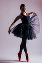 Young woman ballerina ballet dancer dancing with tutu in silhouette Royalty Free Stock Photo