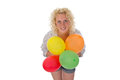 Young woman with balloons blonde holding in her hand Stock Photography