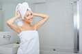 Young Woman in the Bathroom Royalty Free Stock Photo