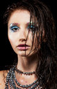 Young woman with beautiful face and wet hair Royalty Free Stock Images