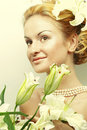 Young woman with beautiful wedding hairstyle Stock Photo