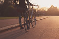Young woman with bicycle in the park Royalty Free Stock Photo