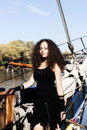 Young Woman Black Dress Standing On Bow Sailing Ship Royalty Free Stock Photo
