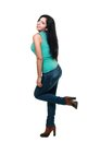 Young woman in blue jeans Royalty Free Stock Image
