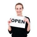 Young woman with board open happy portrait Royalty Free Stock Photography