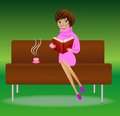 Young woman with book and cup of tea sit on sofa vector illustration Royalty Free Stock Photography
