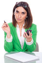 Young woman bored at work beautiful Royalty Free Stock Photo