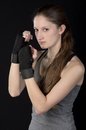 Young woman in boxing stance Stock Image