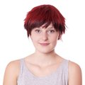 Young woman with boyish short hair smiling cut Stock Photos