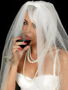 Young Woman Bride Drinking and Smoking Royalty Free Stock Photo