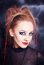 Young woman with bright gothic makeup closeup Royalty Free Stock Image