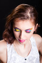 Young woman with bright stylish make up portrait on black background Royalty Free Stock Photography