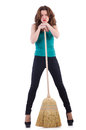 Young woman with broom isolated on white Stock Photo