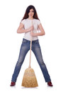 Young woman with broom isolated on white Stock Image