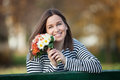 Young woman with bunch of wildflowers Royalty Free Stock Photo