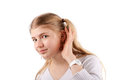 Young woman can't hear you Royalty Free Stock Photo