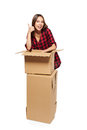 Young woman with cardboard boxes Royalty Free Stock Photo