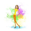 Young woman cell phone call over abstract paint Royalty Free Stock Photo
