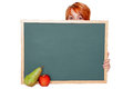 Young woman with chalkboard Royalty Free Stock Photo