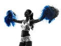 Young woman cheerleader cheerleading  silhouette Royalty Free Stock Photo