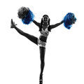 Young woman cheerleader cheerleading silhouette one studio on white background Royalty Free Stock Image