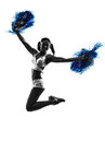 Young woman cheerleader cheerleading silhouette one studio on white background Royalty Free Stock Photography