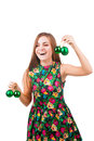 Young woman with christmas ball isolated on white Stock Image