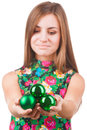 Young woman with christmas ball isolated on white Royalty Free Stock Photo