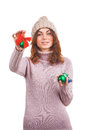 Young woman with christmas ball isolated on white Stock Photo