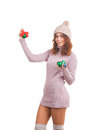 Young woman with christmas ball isolated on white Stock Photos