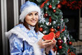 Young woman with Christmas costume Snow Maiden Royalty Free Stock Photos