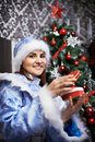 Young woman with Christmas costume Snow-Maiden Stock Photos