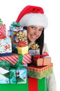 Young Woman with Christmas Presents Stock Photo