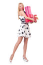Young woman with christmas shopping on white Stock Photos