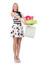 Young woman with christmas shopping on white Royalty Free Stock Photography