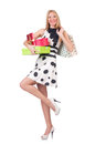 Young woman with christmas shopping on white Stock Photo