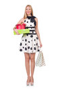 Young woman with christmas shopping on white Royalty Free Stock Image