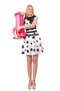 Young woman with christmas shopping on white Royalty Free Stock Photo