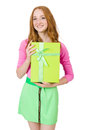 Young woman with christmas shopping Royalty Free Stock Photo