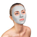 Young woman with clay face mask Royalty Free Stock Photo