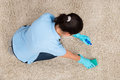 Young Woman Cleaning Carpet