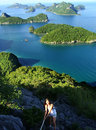 Young woman climbing to the view point ang thong national marin wua talab island marine park thailand Royalty Free Stock Photos